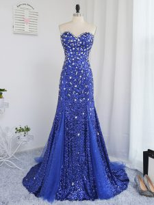 Perfect Royal Blue Sweetheart Zipper Beading and Sequins Evening Outfits Sleeveless