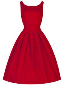 Red A-line Ruching Dama Dress for Quinceanera Lace Up Taffeta Sleeveless Knee Length