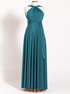 Spectacular Straps Sleeveless Bridesmaids Dress Floor Length Ruching Teal Chiffon