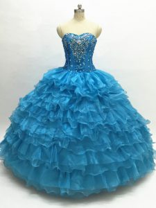 Teal Ball Gowns Organza Sweetheart Sleeveless Beading and Ruffles Floor Length Lace Up Vestidos de Quinceanera