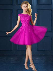 Fuchsia A-line Lace and Belt Damas Dress Lace Up Tulle Cap Sleeves Knee Length