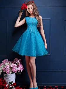 Latest Teal Lace Up Bridesmaids Dress Beading and Lace Sleeveless Knee Length