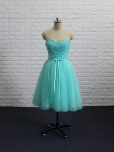 Pretty Apple Green A-line Tulle Sweetheart Sleeveless Beading and Sashes ribbons Knee Length Lace Up