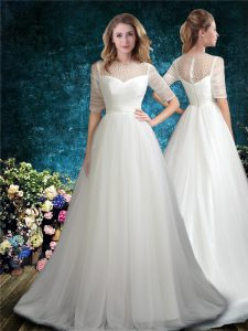 Deluxe White Scoop Zipper Beading Wedding Dresses Brush Train Half Sleeves