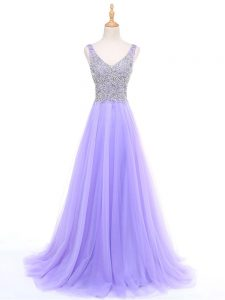 Lavender V-neck Zipper Beading Formal Dresses Sleeveless