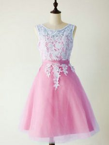 Lace Quinceanera Court Dresses Lilac Lace Up Sleeveless Knee Length
