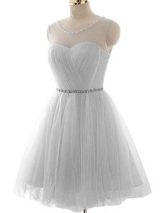 Low Price Mini Length Lace Up Prom Dress Grey for Prom and Party and Sweet 16 with Beading and Ruching