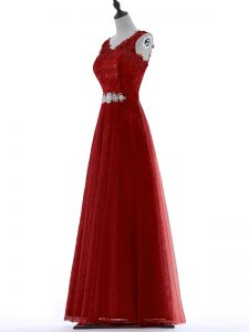 V-neck Short Sleeves Zipper Prom Party Dress Red Tulle