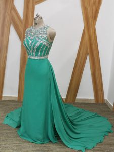 Free and Easy Sleeveless Watteau Train Beading Side Zipper Dress for Prom