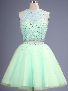 Apple Green Scoop Lace Up Beading Vestidos de Damas Sleeveless