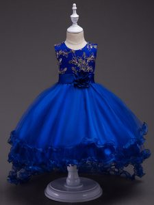 Attractive High Low Royal Blue Kids Formal Wear Scoop Sleeveless Zipper