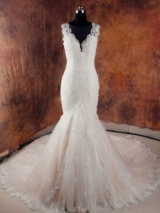 White Tulle Side Zipper V-neck Sleeveless Wedding Dress Court Train Beading and Lace