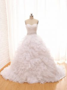 High End White Sleeveless Brush Train Beading and Ruffles Wedding Gowns