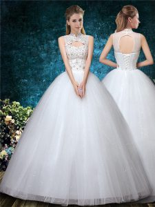 White Ball Gowns Tulle High-neck Sleeveless Beading and Appliques and Embroidery Floor Length Lace Up Wedding Dress