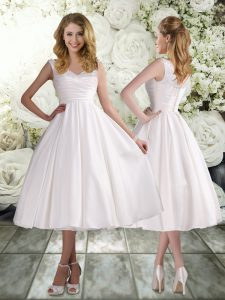 Sweet Tea Length Lace Up Bridal Gown White for Beach and Wedding Party with Appliques
