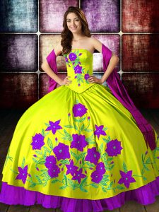 Glamorous Yellow Green Sleeveless Floor Length Embroidery Lace Up 15 Quinceanera Dress