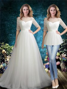 White Half Sleeves Brush Train Beading Wedding Dresses