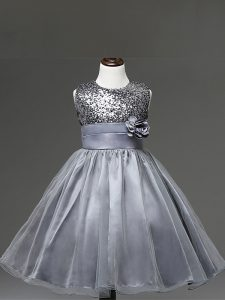 Silver Sleeveless Knee Length Sequins and Hand Made Flower Zipper Flower Girl Dresses