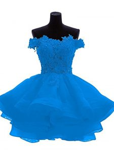 Decent Off The Shoulder Sleeveless Prom Dress Mini Length Lace and Appliques and Ruffles Blue Organza