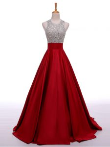 Beading Evening Dresses Wine Red Backless Sleeveless