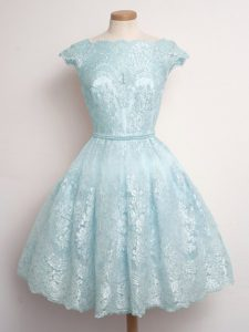 Light Blue Cap Sleeves Knee Length Lace Lace Up Bridesmaids Dress