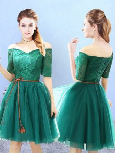 High Quality Green Off The Shoulder Neckline Lace Dama Dress for Quinceanera Half Sleeves Lace Up