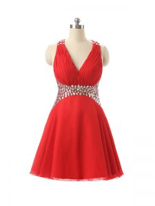 Red Sleeveless Beading Mini Length Homecoming Dress