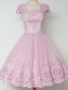 Tulle Cap Sleeves Knee Length Dama Dress for Quinceanera and Lace
