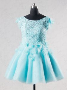 Eye-catching Mini Length Aqua Blue Tulle Short Sleeves Lace and Appliques and Hand Made Flower