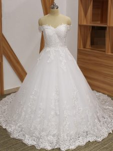 Charming Ball Gowns Sleeveless White Bridal Gown Brush Train Zipper