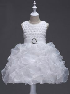 White Lace Up Flower Girl Dresses Ruffles and Belt Sleeveless Knee Length