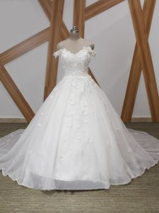 Admirable White Wedding Gowns Off The Shoulder Sleeveless Court Train Zipper