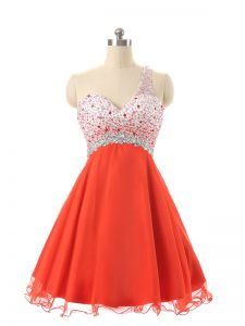 Attractive Orange Red One Shoulder Backless Beading Homecoming Dress Sleeveless