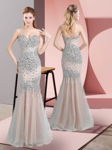 Tulle Sweetheart Sleeveless Zipper Beading Dress for Prom in Champagne