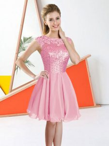 Pink Backless Bateau Beading and Lace Dama Dress Chiffon Sleeveless