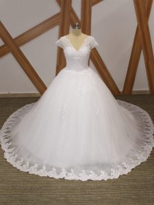 White Short Sleeves Chapel Train Beading and Lace and Appliques Bridal Gown