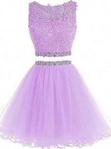 Lavender Sleeveless Beading and Lace and Appliques Mini Length