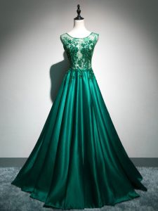 Brush Train A-line Prom Gown Dark Green Scoop Elastic Woven Satin Sleeveless Backless