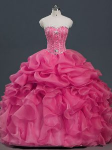 Ideal Hot Pink Lace Up Sweetheart Beading and Ruffles and Pick Ups Quinceanera Gown Organza Sleeveless