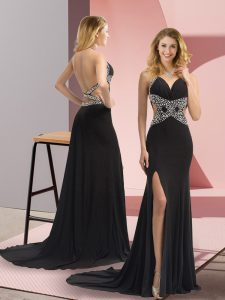 Black Backless Halter Top Beading Prom Evening Gown Chiffon Sleeveless Sweep Train