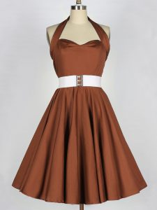 Decent Knee Length Brown Bridesmaids Dress Halter Top Sleeveless Zipper