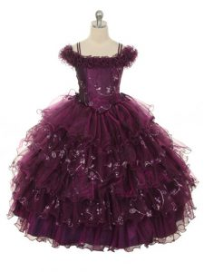 Burgundy Lace Up Off The Shoulder Ruffles and Ruffled Layers Child Pageant Dress Organza Sleeveless