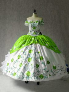 Cheap Embroidery and Ruffles Sweet 16 Dresses Multi-color Lace Up Cap Sleeves Floor Length