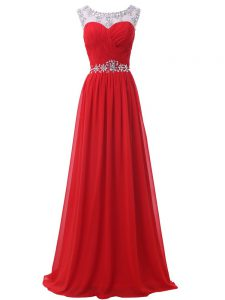 Ideal Empire Red Scoop Chiffon Sleeveless Floor Length Backless