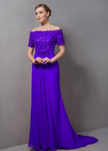 Purple Empire Chiffon Off The Shoulder Short Sleeves Lace Zipper Mother of the Bride Dress Sweep Train