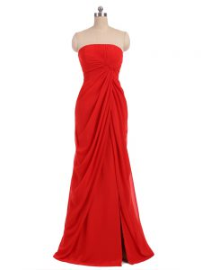 Red Column/Sheath Ruching Damas Dress Zipper Chiffon Sleeveless Floor Length