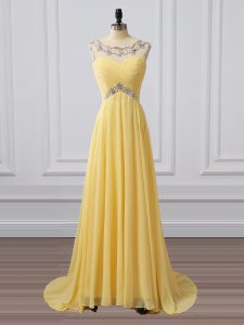 Empire Sleeveless Yellow Prom Dress Brush Train Clasp Handle