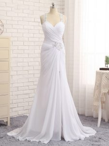 White Column/Sheath Straps Sleeveless Chiffon Brush Train Side Zipper Beading and Ruching Wedding Gown