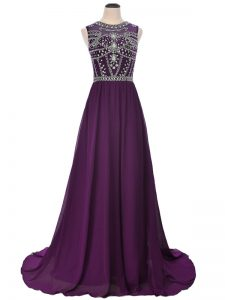Admirable Purple Short Sleeves Brush Train Beading Prom Evening Gown