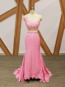 Top Selling Baby Pink Mermaid Scoop Sleeveless Elastic Woven Satin Brush Train Zipper Beading and Lace and Appliques Red Carpet Gowns